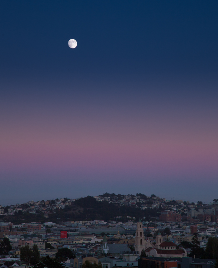 San Francisco Moonrise Potrero Hill